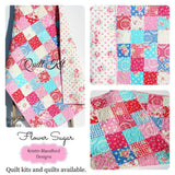 Kristin Blandford Designs Girl Quilts LAST ONE Quilts Baby Girl, Pink Floral Crib Bedding, Handmade Patchwork Blanket, Newborn Gifts, Baby Shower Ideas, Ready to Ship, Navy Blue Cot