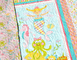 Kristin Blandford Designs Girl Quilts Mermaid Quilt, Baby Bedding, Nursery Decor Baby Girl Blanket, Ocean Sea Nautical