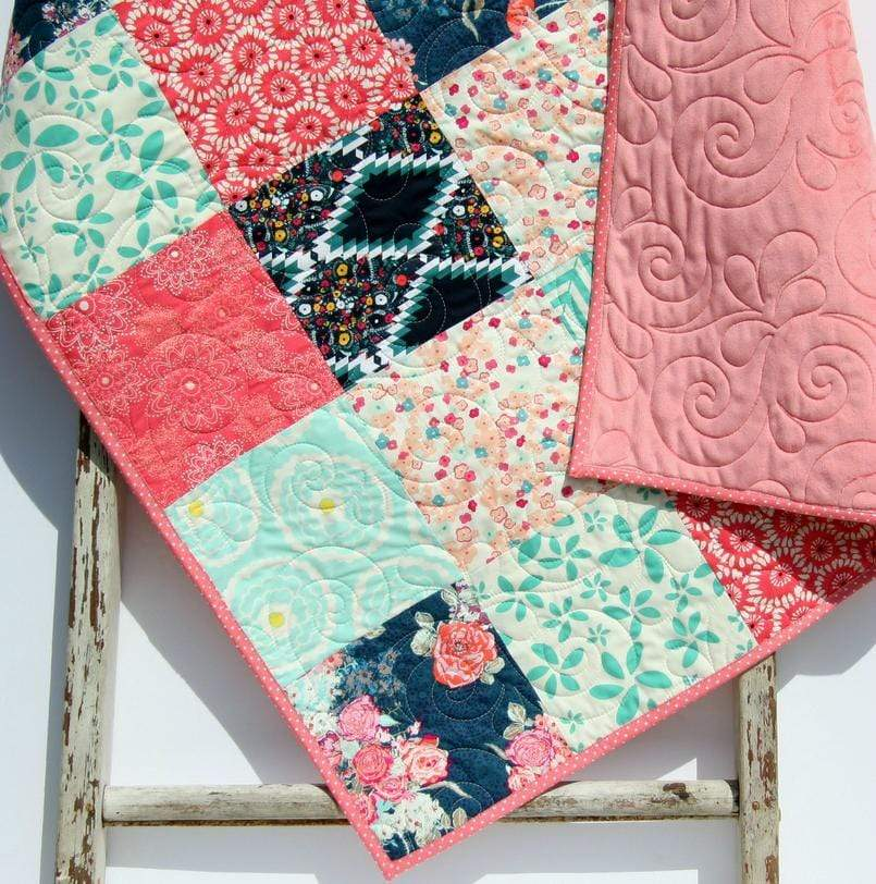 Kristin Blandford Designs Girl Quilts Minky Blanket, Baby Girl Quilt, Navy Coral Nursery Bedding, Newborn Floral Shower Gift, Handmade Patchwork Quilt Soft Boho Chic Personalized