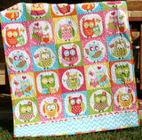 Kristin Blandford Designs Girl Quilts Owl Baby Quilt, Girl Patchwork, Bedding Blanket, Nursery Crib Cot, Pink Orange Aqua Blue, Chevron Child Youth Toddler, Ready To Ship