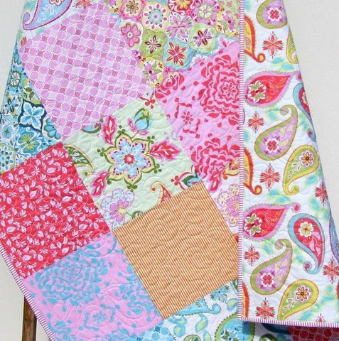 Kristin Blandford Designs Girl Quilts Pink Crib Quilt, Baby Custom Blanket, Floral Nursery Decor, Gifts for Baby, Paisley, Bedding for Baby, Patchwork, Christmas Gift, Kids Child