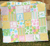 Kristin Blandford Designs Girl Quilts SALE Dr Seuss Baby Girl Quilt Whimsy Fun Pastel Light Pink Crib Cot Nursery Bedding