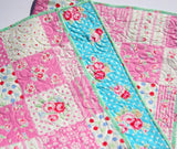 Kristin Blandford Designs Girl Quilts Shabby Chic Quilt, Pink Roses Flowers Crib Bedding, Nursery Blanket, Girl Patchwork