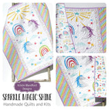 Kristin Blandford Designs Girl Quilts Unicorn Baby Quilt, Girl Nursery Bedding, Rainbow Blanket, Pink Blue Purple, Horses Stars Crib, Modern Infant Newborn Gift Shower, Grandbaby