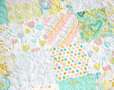 Kristin Blandford Designs Girl Quilts Watercolor Floral Quilt, Coral Mint Gold, Pastel Blanket, Kids Minky Blanket, Flowers