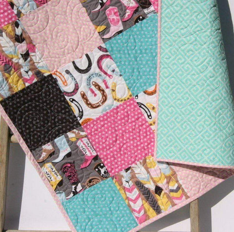 Kristin Blandford Designs Girl Quilts Western Baby Girl Quilt, Turquoise Baby Bedding, Pink Cowgirl Blanket, Nursery Decor, Horseshoes, Feathers, Luckie, Handmade Blanket, Boots