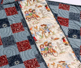 Kristin Blandford Designs Girl Quilts Western Baby Quilt Cowgirl Blanket Nursery Bedding Red Blue Bandana Patchwork Girl Horse Country