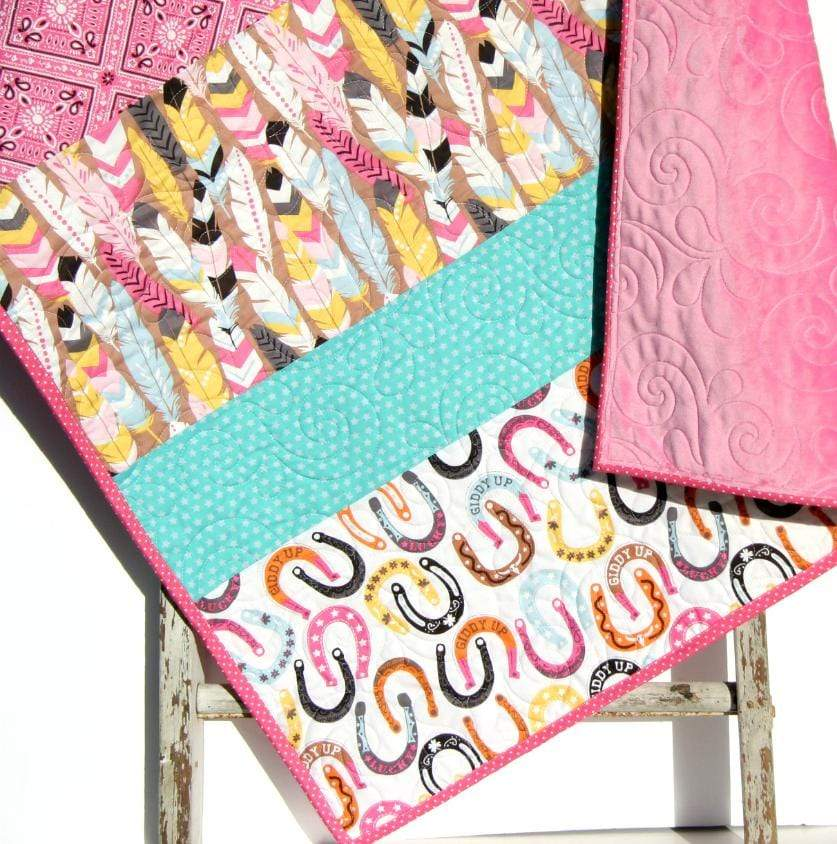 Kristin Blandford Designs Girl Quilts Western Girl Quilt, Nursery Baby Bedding, Pink Cowgirl Blanket, Crib Decor, Horseshoes Feathers, Handmade Gift for Newborn, Toddler Child