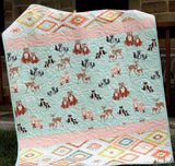 Kristin Blandford Designs Girl Quilts Woodland Girl Baby Quilt, Hello Bear Forest Animals Crib Bedding