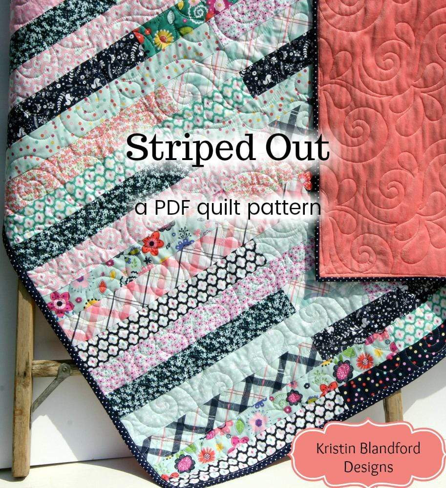 Kristin Blandford Designs Kristin's Quilt Patterns Striped Out Quilt Pattern - Jelly Roll Friendly Quick Easy Beginner Quilt Pattern