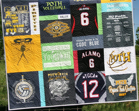Kristin Blandford Designs T-Shirt Quilt DEPOSIT Custom Memory Blanket Graduation Gift Tee Handmade Keepsake Personalized Modern Design Sport Clothing College Birthday