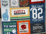 Kristin Blandford Designs Throw Quilts Football Quilt, Gift for Him, Patchwork Blanket, Adult Minky, Varsity Sports Fan, Handmade Quilt, Home Decor for Man, Homemade Personalize