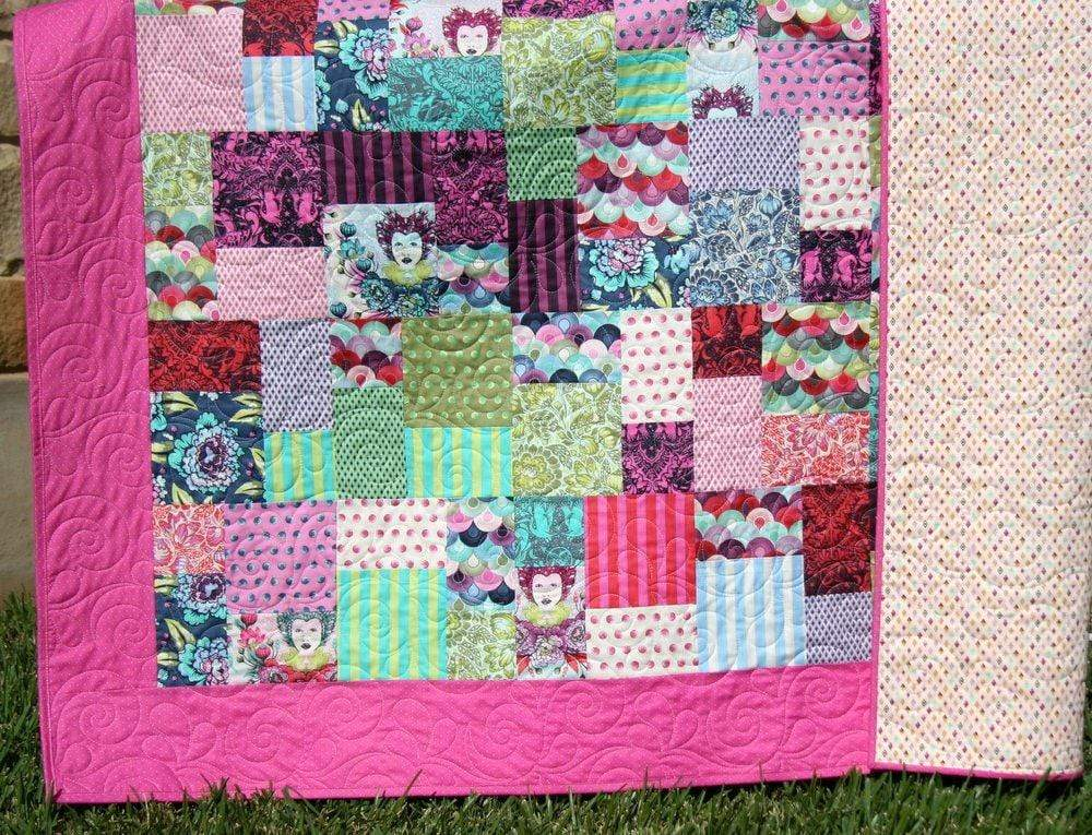 Kristin Blandford Designs Throw Quilts Modern Quilt, Throw Blanket, Housewarming Gift for Her, Home Decor, Bright Colorful Quilt, Large Handmade Throw Tula Pink Elizabeth Monogram