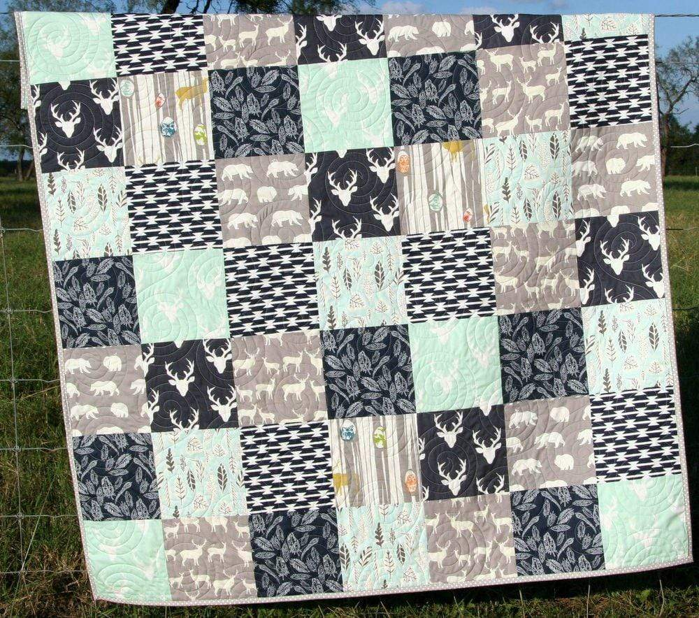 Kristin Blandford Designs Throw Quilts Quilt, Minky Adult Blanket, Gifts, Home Decor, Rustic, Throw Blanket, Mint, Navy Blue, Unique, Gift for Him, Deer Minky Quilt, Woodland Boy