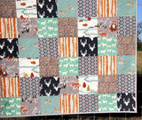 Kristin Blandford Designs Throw Quilts Quilt, Woodland Throw, Minky Adult Blankets, Arrows, Woodland Animals, Gray Deer Quilt, Homemade Large Quilt, Soft Blanket for Couch, Navy