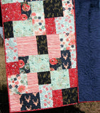 Kristin Blandford Designs Throw Quilts Throw Quilt, Minky Backing Modern Homemade Lap Quilt Couch Blanket Boho Home Decor
