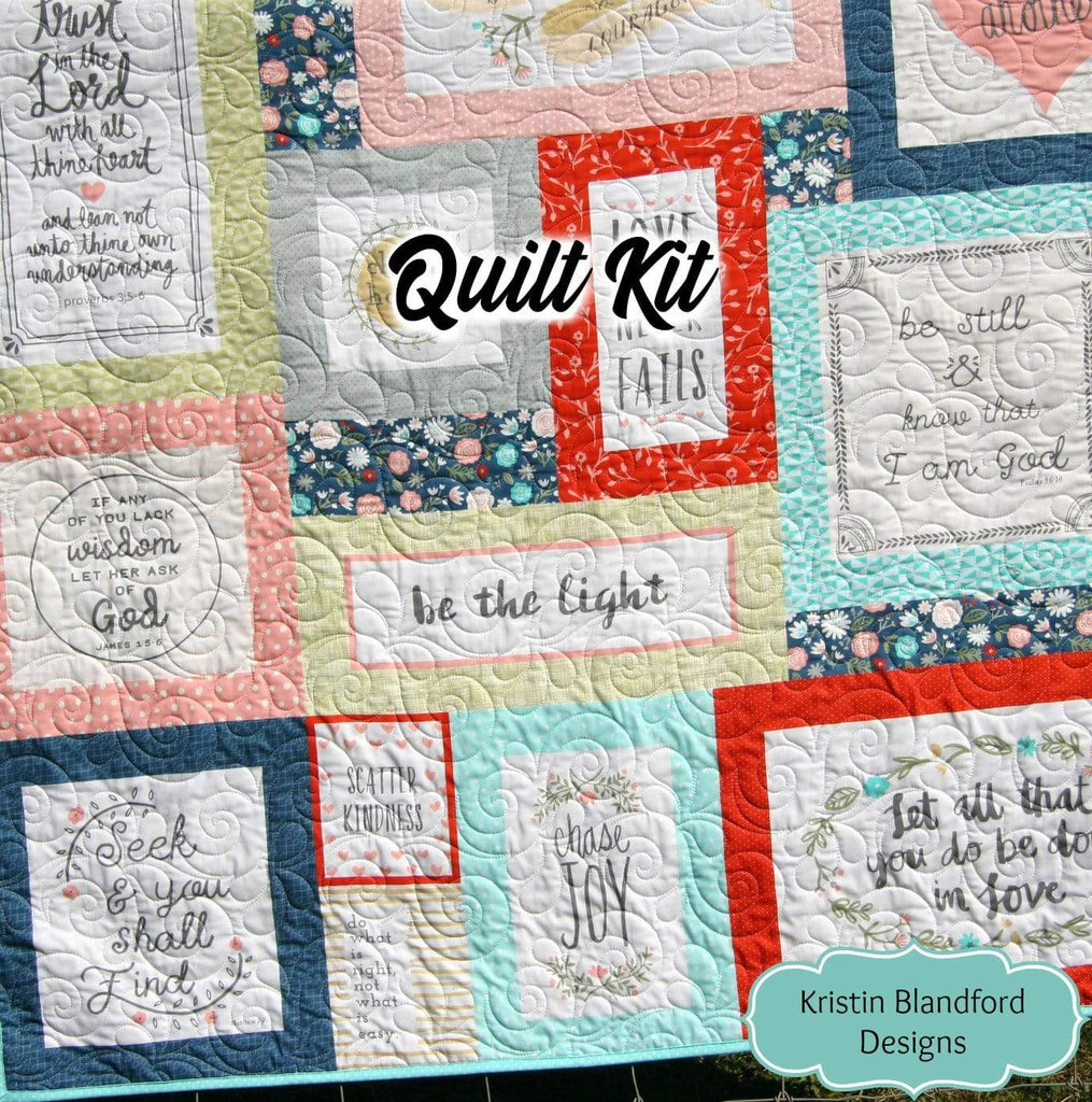 Kristin Blandford Designs Throw to Twin Quilt Kits Quilt Kit, Throw Blanket, Sewing Project Large Lap Throw Panel Minky Adult Blanket Home Decor Gift for Quilter Heart and Soul Faux Patchwork