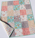Kristin Blandford Designs Throw to Twin Quilt Kits Quilt Kits, Littlest Bunnies, Pastel Nursery Crib Blanket, DIY Do It Yourself Project Art Gallery Fabrics Twin Bed Throw Pink Mint Grey Gray