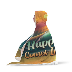 Happiness In Waves Hooded Blankets