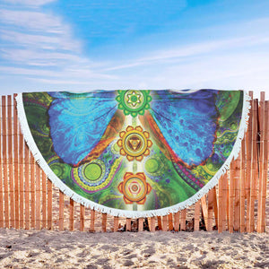 Butterfly Eyes Round Blanket