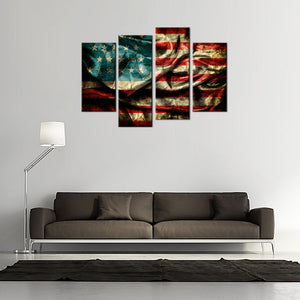 4 Panel American Flag Canvas Wall Art Set - Ready To Hang