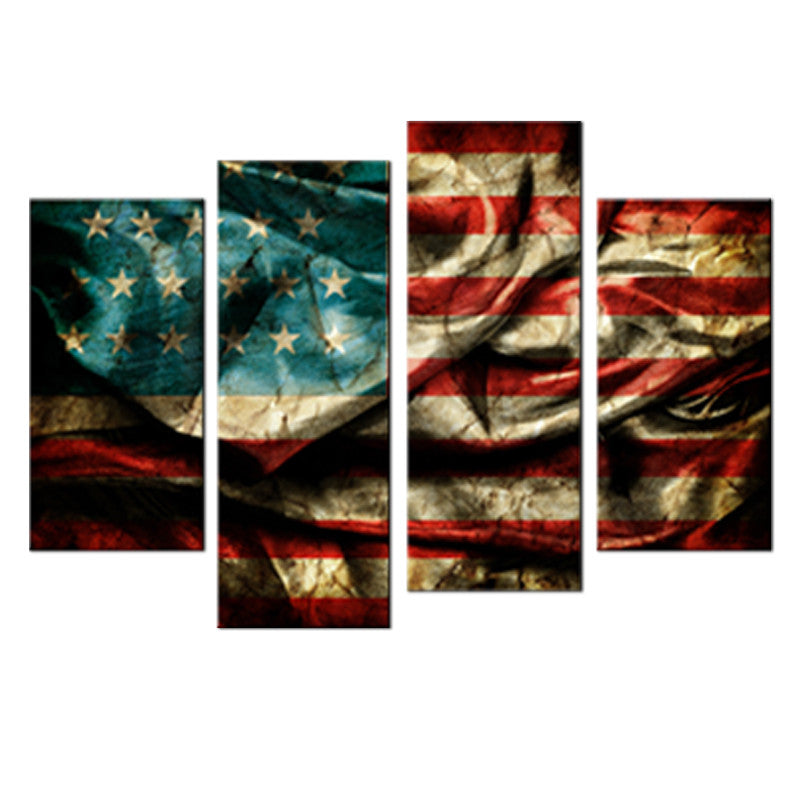 4 Panel American Flag Canvas Wall Art Set   Ready To Hang