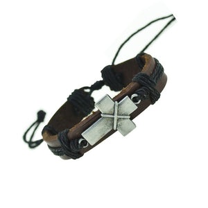 Unisex Genuine Leather Cross Charm Bracelets