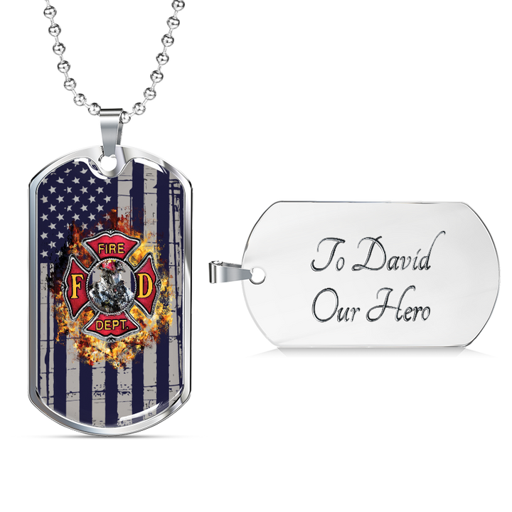 Firefighter Dog Tag Necklace