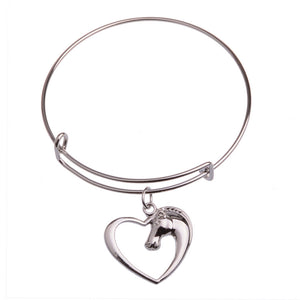 Heart and Horse Head Charm Bangle Bracelet