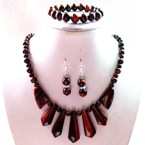 Tiger Eye Necklace, Bracelet, and Earrings Set