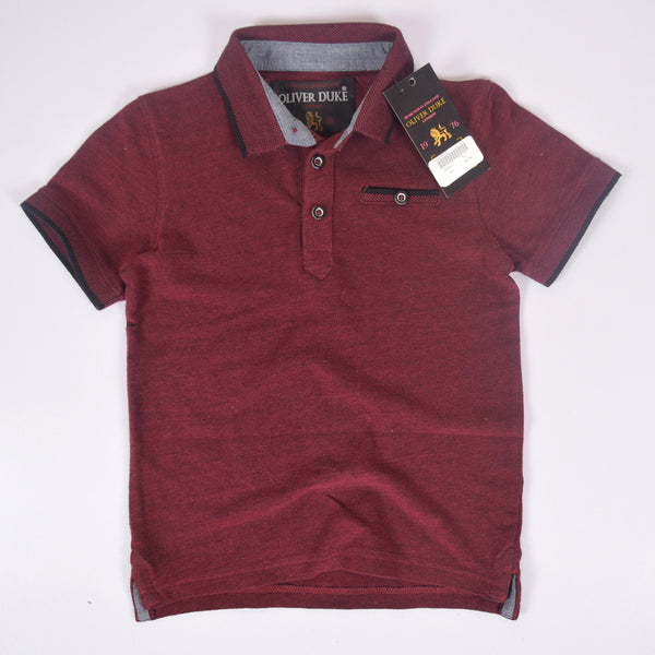 Kids Oliver Duke Two tone Short sleeve Polo Shirt - Maroon - klashcollection - 1