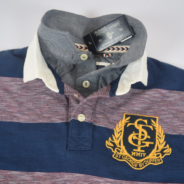 Men's Henry James ST-G Double Collar Dyed Yarn Striped Polo Shirt - Burgundy -Navy - klashcollection - 4