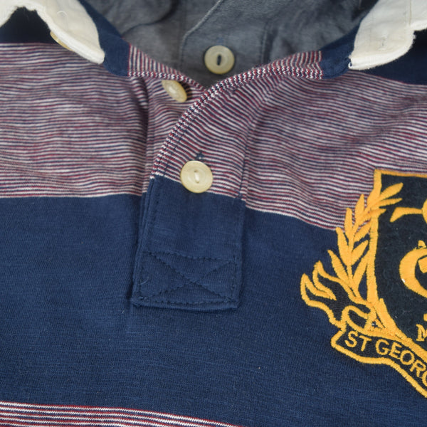 Men's Henry James ST-G Double Collar Dyed Yarn Striped Polo Shirt - Burgundy -Navy - klashcollection - 5