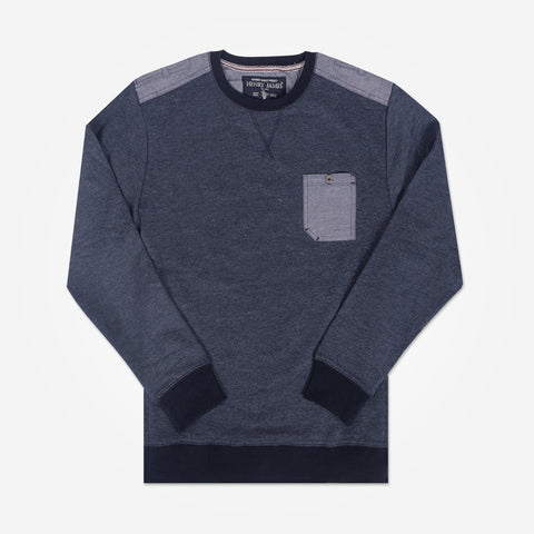 Men's Henry James sweatshirt with pocket and shoulder patch - Denim Blue - klashcollection - 1
