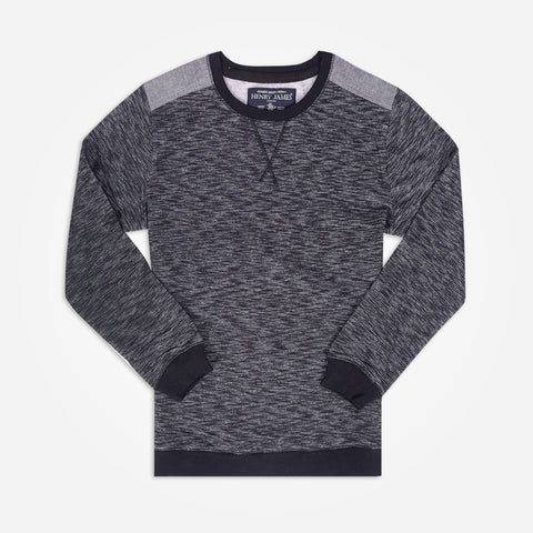 Men's Henry James Long Sleeve Sweatshirt - Textured Navy - klashcollection - 1