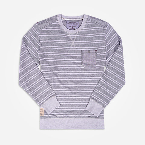 Men's Henry James Sweatshirt with chambray shoulder patch and pocket - Grey - klashcollection - 1