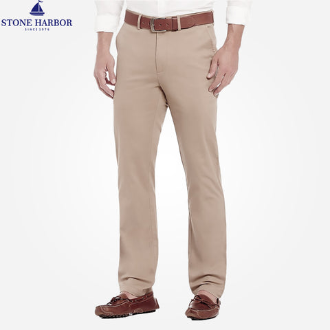 "Men's ""Stone Harbor"" Slim fit Cotton Chino Pant - Light Khaki"