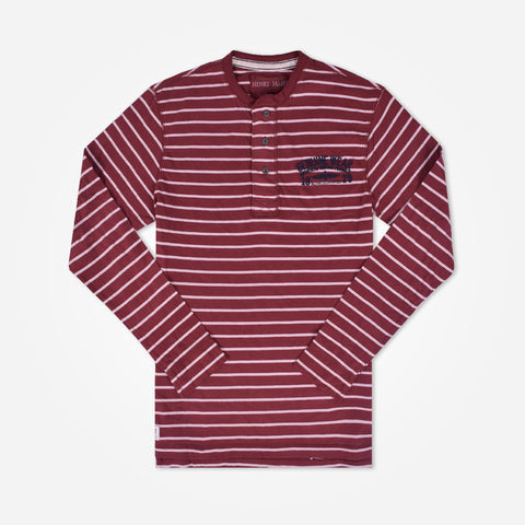 Men's Henry James long sleeve Striped Henley - Burgundy - klashcollection - 1