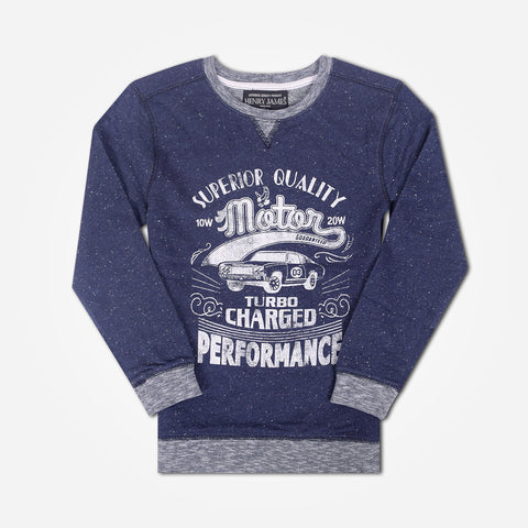 Kid's Henry James Superior Quality Slogan Printed Sweat - Denim Blue - klashcollection - 1