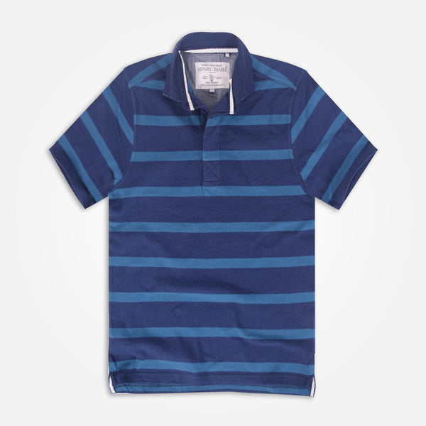 Men's Henry James Bright Blue Striped Polo Shirt - klashcollection - 1