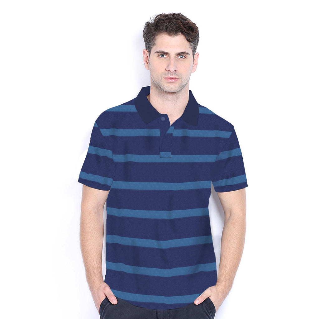 Men's Henry James Bright Blue Striped Polo Shirt - klashcollection - 2