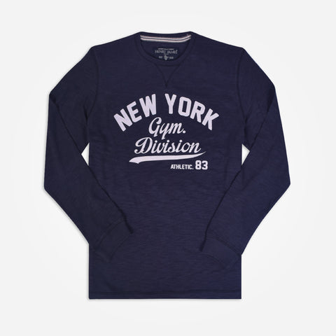 "Men's Henry james ""NEW YORK"" Print Long sleeve tee shirt - Navy - klashcollection - 1"