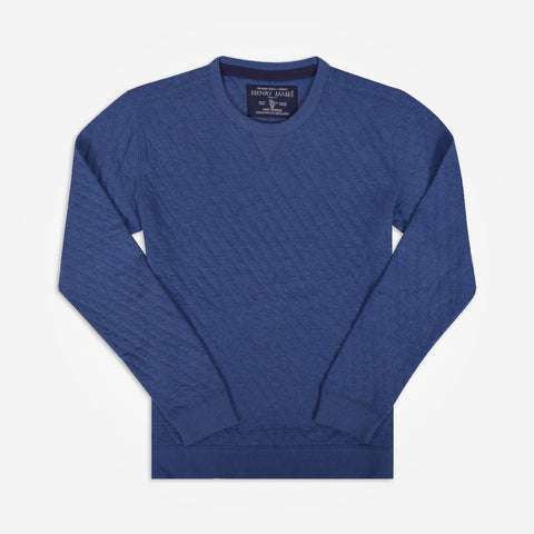 Men' Henry James long sleeve crew neck quilted Sweatshirt - Denim Blue - klashcollection - 1