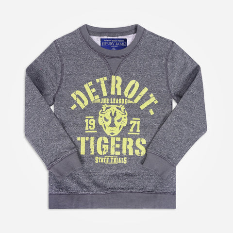 "Kid's Henry James "" Detroit Tigers "" Printed crew neck Sweatshirt - Grey - klashcollection - 1"
