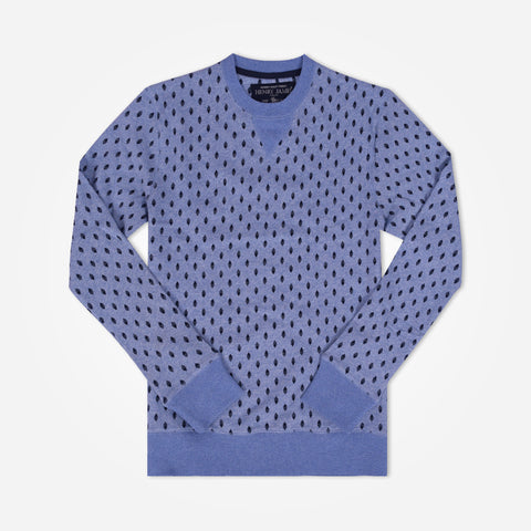 Men's Henry James Allover printed crew neck Sweatshirt - Textured Blue - klashcollection - 1