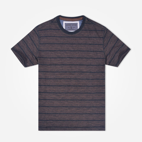 Men's Henry James striped t shirt - Textured Brown