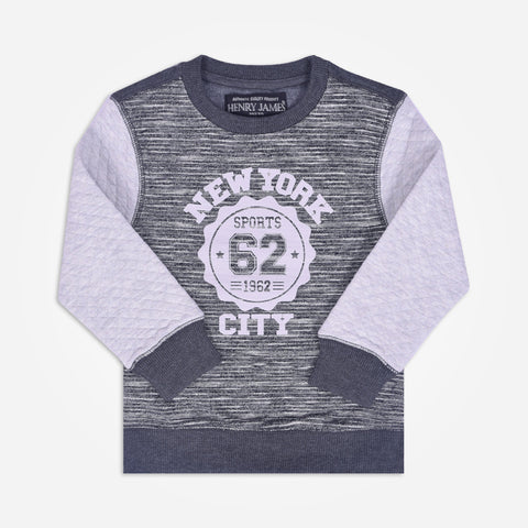 "Kid's Henry James "" NEW YORK CITY "" Printed crew neck Sweatshirt - Grey - klashcollection - 1"
