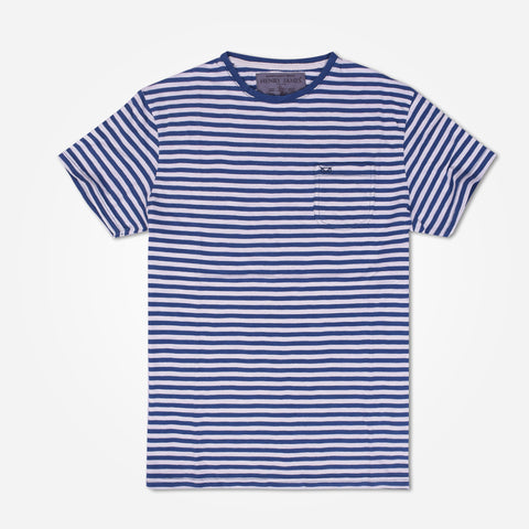 Men's Henry James  Stripe Pattern T Shirt with chest Pocket - Navy/White