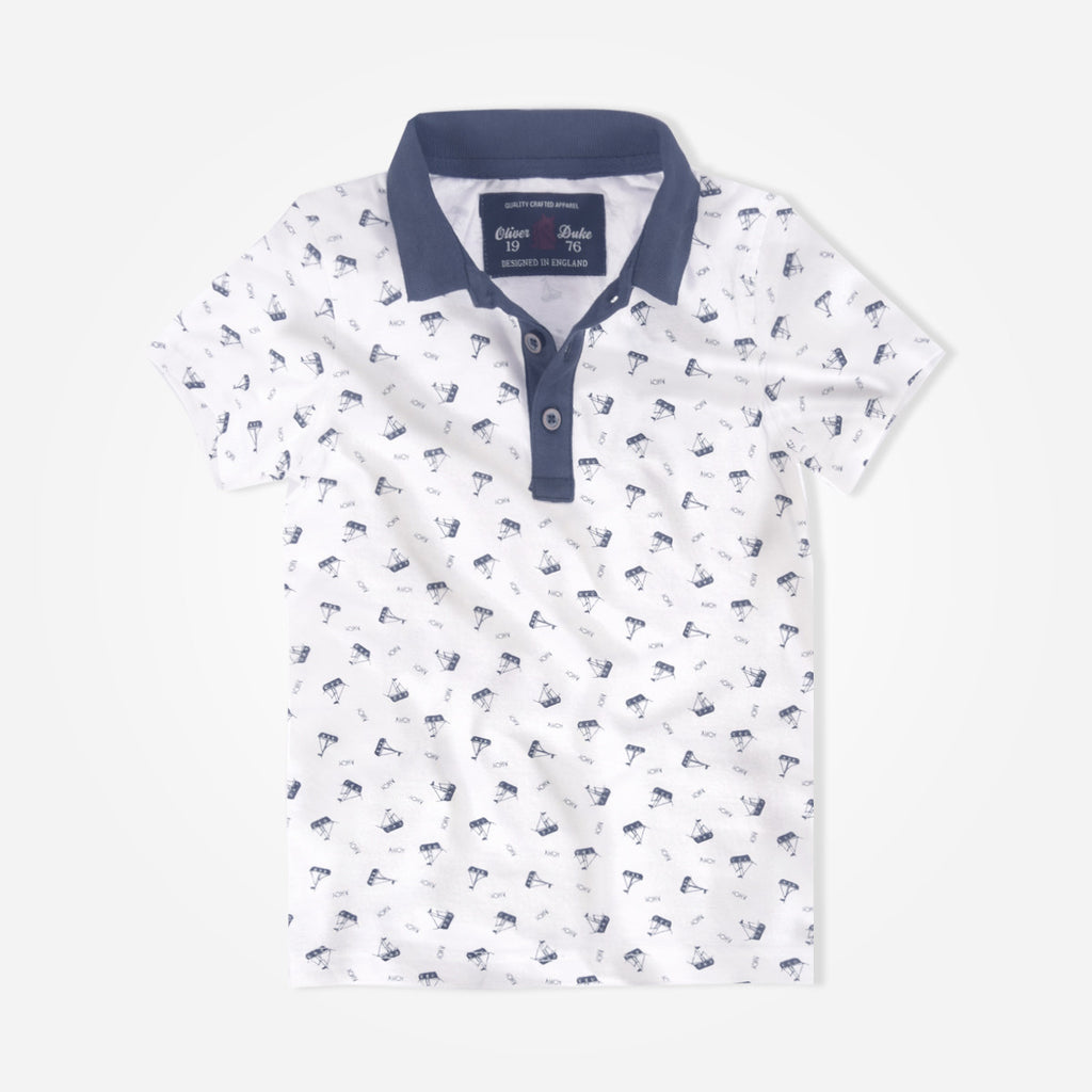 Kids Oliver Duke Contrast Collar Boat Printed Polo Shirt - klashcollection - 1