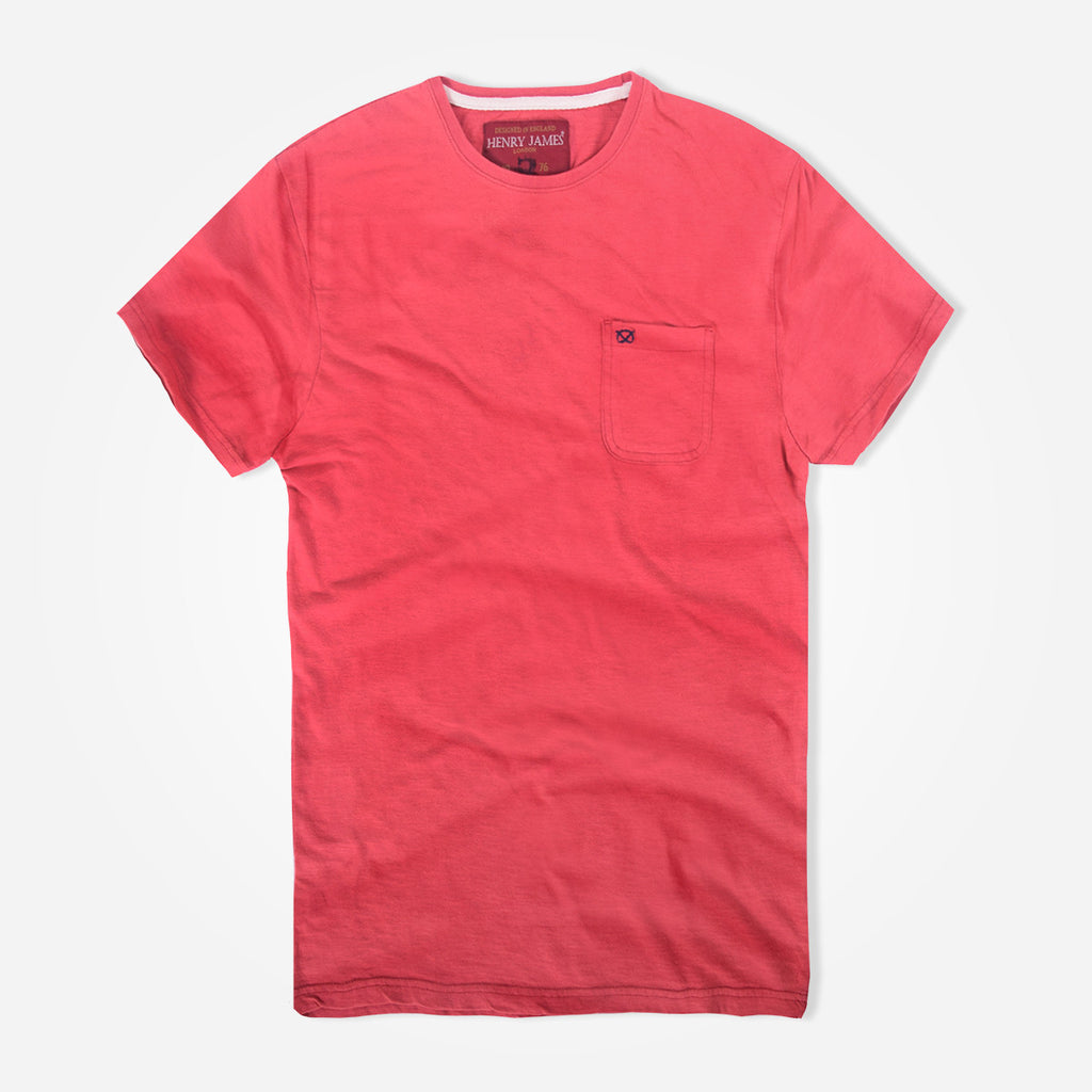Men's Henry James Horizon Red Textured Pocket Signature T-Shirt - klashcollection - 1